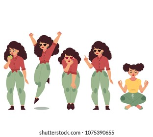 Hand drawn plump obese girl having fun set. Cartoon style cute female characters in jeans, pink skirt doing yoga, dancing blow air kiss, eat apple. Vector adult brunette overweight women collection
