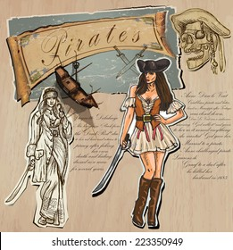 An hand drawn (plus mixed media) vector pack. Topic: PIRATES - Women. Description: Vector is editable in several layers and group of objects.