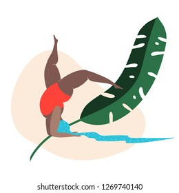Hand drawn plus-size woman with a hair-like-a-river stands on her hands near green plant huge banana palm leaf in minimalist style. Naive art. Body positive. Red swimsuit.