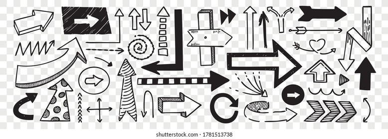 Hand drawn pointers doodle set. Collection of pen ink pencil drawing sketches direction boards and arrows isolated on transparent background. Illustration of different road or touristic placards.