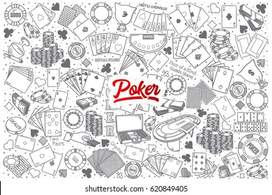 Hand drawn Poker doodle set background with red lettering in vector