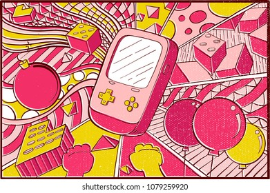 Hand drawn Pop Art Wallpaper Mosaic Background with Game Console, Bomb, Balloon, Puzzle & Colorfull Abstract shape pattern