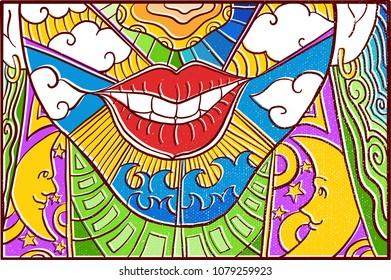 Hand drawn Pop Art Wallpaper Mosaic Background with Women Face smile, White Cloud, Starry Night with moon, & Colorfull Abstract pattern
