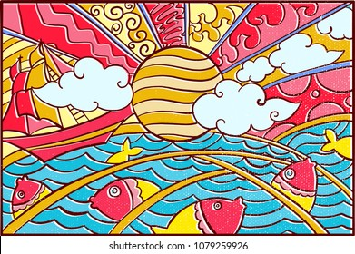 Hand drawn Pop Art Wallpaper Mosaic Background with Sun, Sea, Fish, Phiniisi boat, Cloudy Sky & Colorfull Abstract pattern
