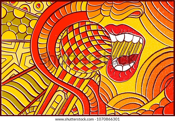 Hand Drawn Pop Art Wallpaper Background Stock Vector