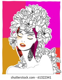 Hand drawn pop-art poster of a fashion model