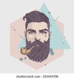 Hand drawn portrait of bearded hipster with tobacco pipe