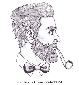 Hand drawn portrait of bearded man with pipe side-view. Vector illustration.
