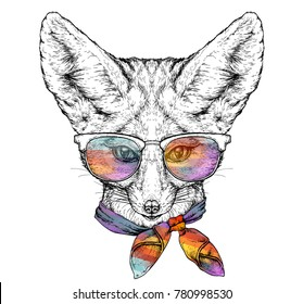 Hand drawn portrait of cute Fennec Fox in glasses and with bow tie. Vector illustration isolated on white