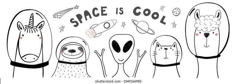 Hand drawn portrait of a cute funny animals in space, with typography. Isolated objects on white background. Line drawing. Vector illustration. Design concept for children print.