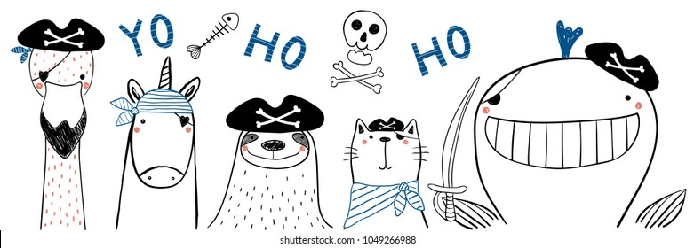 Hand drawn portrait of a cute funny pirate animals in tricorne hats, with eye patches. Isolated objects on white background. Line drawing. Vector illustration. Design concept for children print.