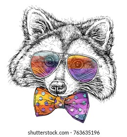Hand drawn portrait of cute Raccoon in glasses with bow tie. Vector illustration isolated on white