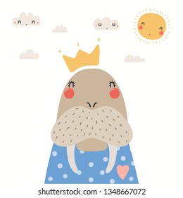 Hand drawn portrait of a cute walrus in shirt and crown, with sun and clouds. Vector illustration. Isolated objects on white background. Scandinavian style flat design. Concept for children print.