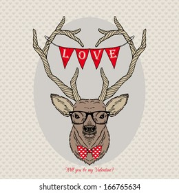 Hand Drawn Portrait of Deer Hipster with love garland, Valentine's Day, will you be my Valentine