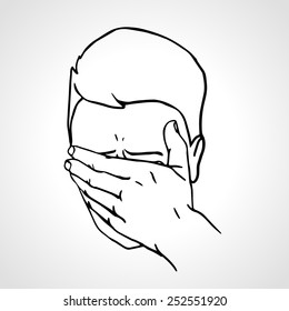 Hand drawn portrait of a Face Palmed Guy. Man covered his face with his hand. Vector Illustration