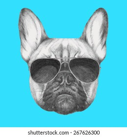 Hand drawn portrait of French Bulldog with sunglasse. Vector isolated elements.