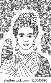Hand drawn portrait of Frida Kahlo, with floral background, flowers in her hair and a parrot on her shoulder - black and white ink drawing