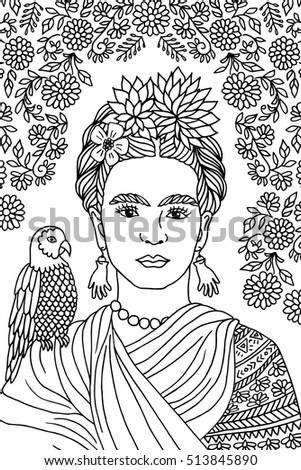 Hand Drawn Portrait Frida Kahlo Floral Vector de stock (libre de ...
