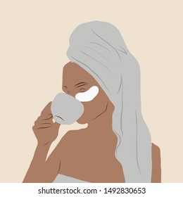 Hand drawn portrait of a girl with cosmetic patches under her eyes, a face mask drinks morning coffee with wound. in towel with wet hair. Woman figure in flat style.