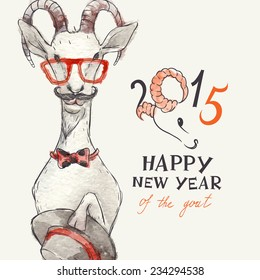 Hand Drawn Portrait of Hipster Goat. New Year Symbol of 2015, Eps 10 Vector Illustration