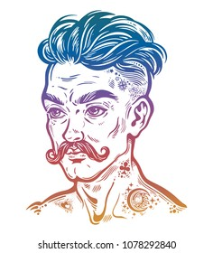 Hand drawn portrait of inked moustached man with short hair. Tattoo in flash style, vintage look. Isolated vector illustration.