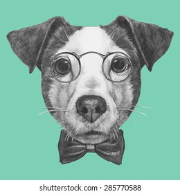 Hand drawn portrait of Jack Russell with glasses and bow tie. Vector isolated elements.