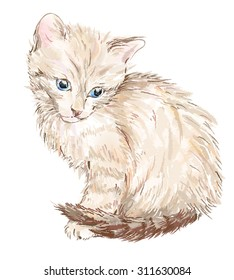 Hand drawn portrait of the kitten. This image was made with Adobe Illustrators brushes.   It is not contain  any avto trace elements.