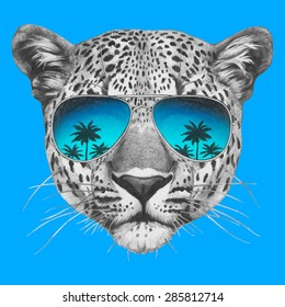 Hand drawn portrait of Leopard with mirror sunglasses. Vector isolated elements.
