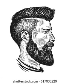 Hand drawn portrait of man in profile. Hipster sketch. Vintage vector illustration