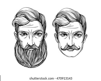 Hand drawn portrait of  men with beard and mustache. Vector hand drawn hipster illustration isolated on white background. T-shirt print, tattoo art, coloring book for adults.