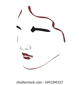 Hand drawn portrait of a model girl or young woman in minimalism style. Female face silhouette drawn by colors lines