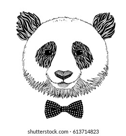 Hand drawn portrait of Panda with bow tie. Vector isolated illustration