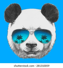 52f2ad028d26 Hand drawn portrait of Panda with mirror sunglasses. Vector isolated  elements