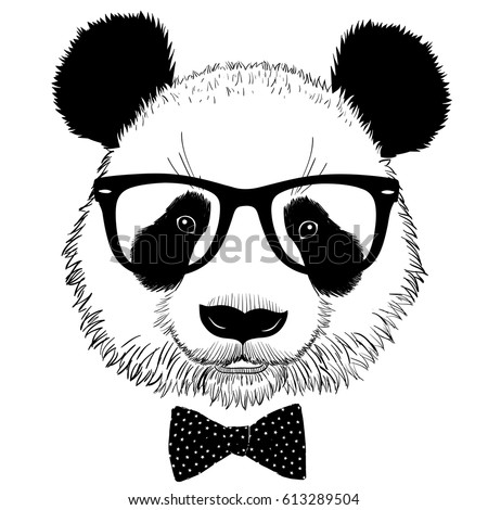 8894e96ca517 Royalty-free stock vector images ID  613289504. Hand drawn portrait of panda  with sunglasses and bow tie. Vector isolated illustration - Vector