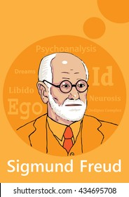 A hand drawn portrait of the psychoanalyist Sigmund Freud.
