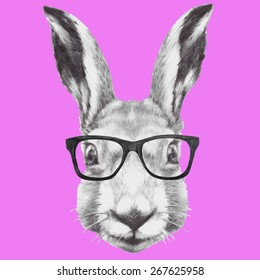 Hand drawn portrait of rabbit with glasses. Vector isolated elements.