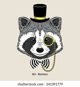 Hand drawn portrait of raccoon in tall hat