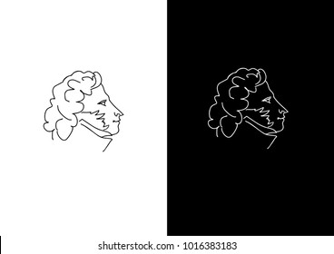 Hand drawn portrait of russian poet Alexander Pushkin. Profile face view. Vector illustration on black and white background. Logo, symbol, sign, icon in flat style