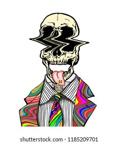 Hand drawn portrait of a strange handsome man with LSD psychedelic skull and tongue out with acid and trippy suit and tie. Head in modern and surreal tattoo art. Isolated vector illustration.