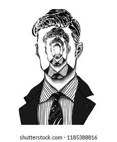 Hand drawn portrait of a strange handsome man with anonymous face with himself repeated like in an endless mirror. Isolated vector concept head illustration in modern and surreal tattoo art.