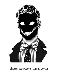 Hand drawn portrait of a strange handsome man with dark scary face with white feline eyes and sharp teeth smile. Head in modern and surreal tattoo art. Isolated vector illustration.