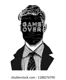 Hand drawn portrait of a strange handsome man with anonymous screen face displaying GAME OVER word. Head in modern and surreal tattoo art. Isolated vector illustration.