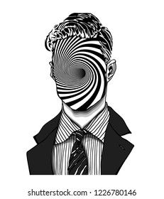 Hand drawn portrait of a strange handsome man with anonymous face with striped worm hole. Head in modern and surreal tattoo art. Isolated vector illustration.