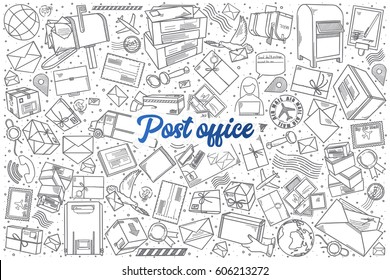 Hand drawn Post office doodle set background with blue lettering in vector