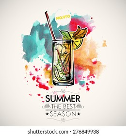 Hand drawn poster with cocktail and text on a watercolor splash background. Vector collection.