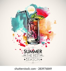 Hand drawn poster with cocktail and text. Watercolor splash background. Vector collection.