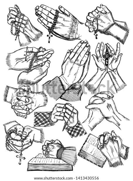 hand drawn praying hands vector pack stock vector royalty free 1413430556 https www shutterstock com image vector hand drawn praying hands vector pack 1413430556