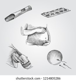Hand Drawn Pregnancy elements Sketches Set. Collection Of  pregnant woman belly, Pregnancy test, pills, Ultrasound scanner, Sperm and egg cell sketches on white background.  Pregnancy sketches element