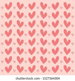 Hand drawn pretty mini modern sweetest red heart seamless on pink pattern bankground.Desing for element of valentine day ,Wedding card ,Print ,Gift wrapping paper,Love sticker ,Screen.Vector.