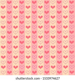 Hand drawn pretty mini sweetest red heart seamless on pink and gold color stripe pattern background. Design for element of valentine day ,Wedding card ,Print ,Wrapping paper,Love,Screen.Vector.